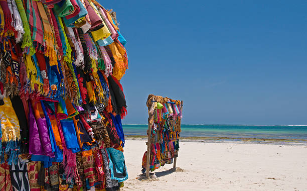 Colourful Kanga's (cloth) on Kenya's beach stock photo