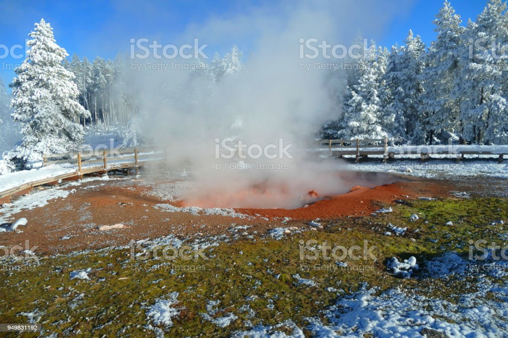 Colourful Lake In Volcanic Area Winter In Yellowstone