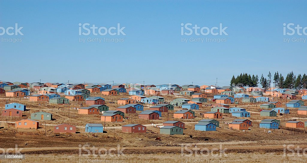 Colourful low-cost housing stock photo