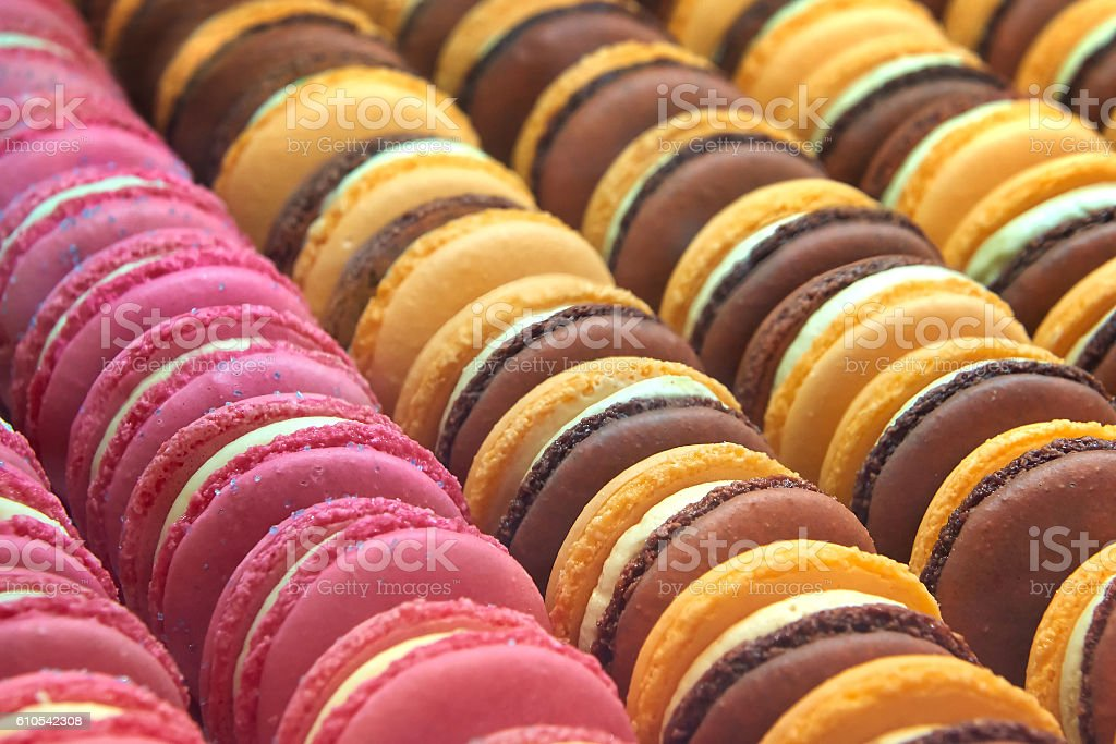 Colourful macarons stock photo