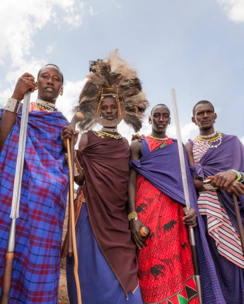 Colourful Masai Warriors stock photo