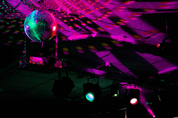 Colourful mirrorball in disco 2 stock photo