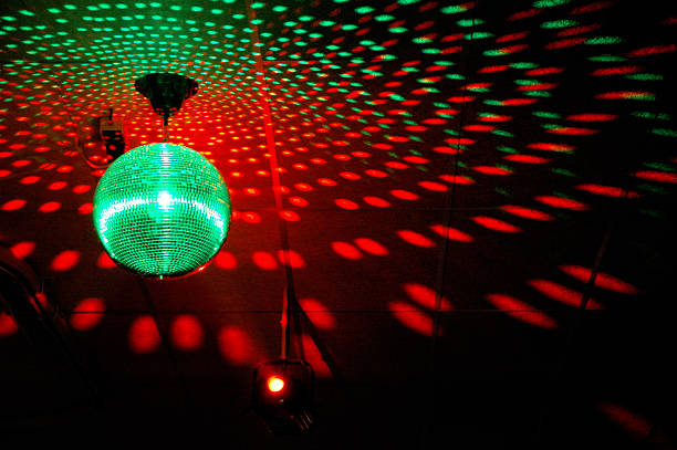 Colourful mirrorball in disco stock photo