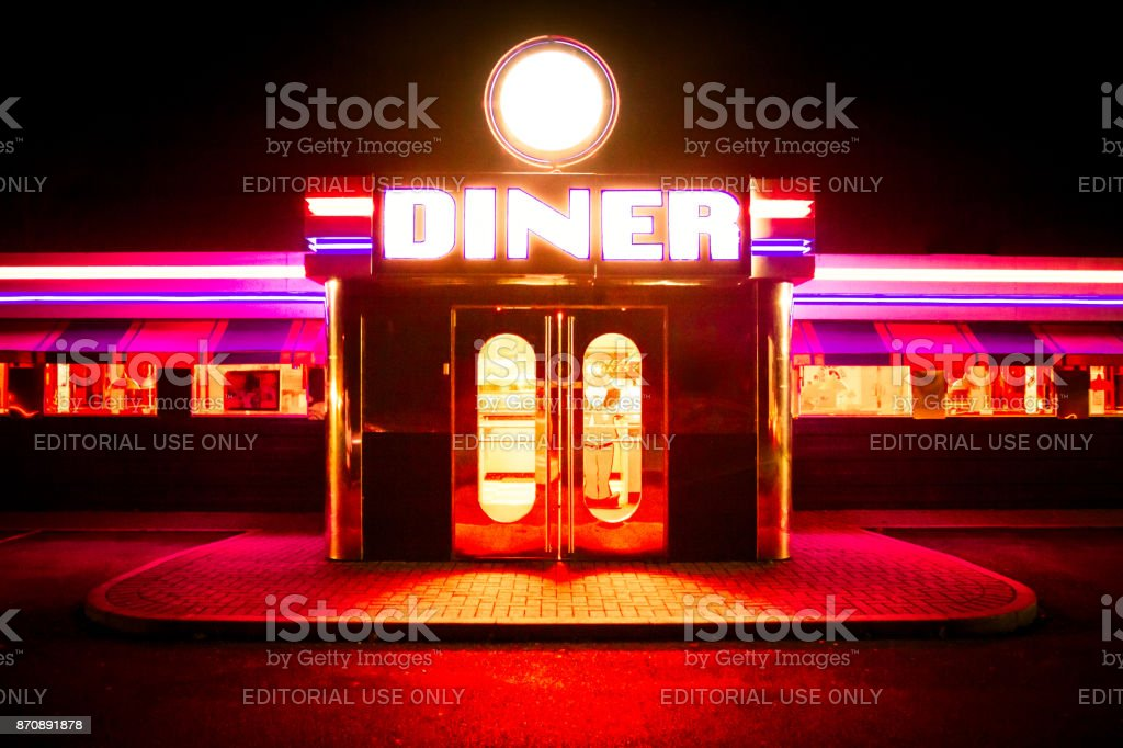 Colourful Neon American Diner stock photo