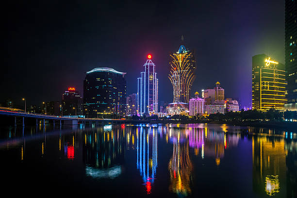 colourful night light in Macau stock photo