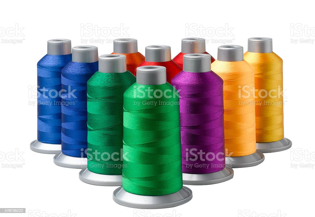 Colourful of cone threads arrangement stock photo