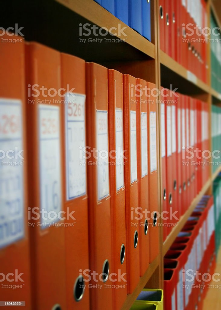 Colourful office files stock photo