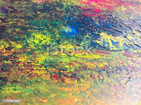 504223972 istock photo Colourful oil paint background 1209962985