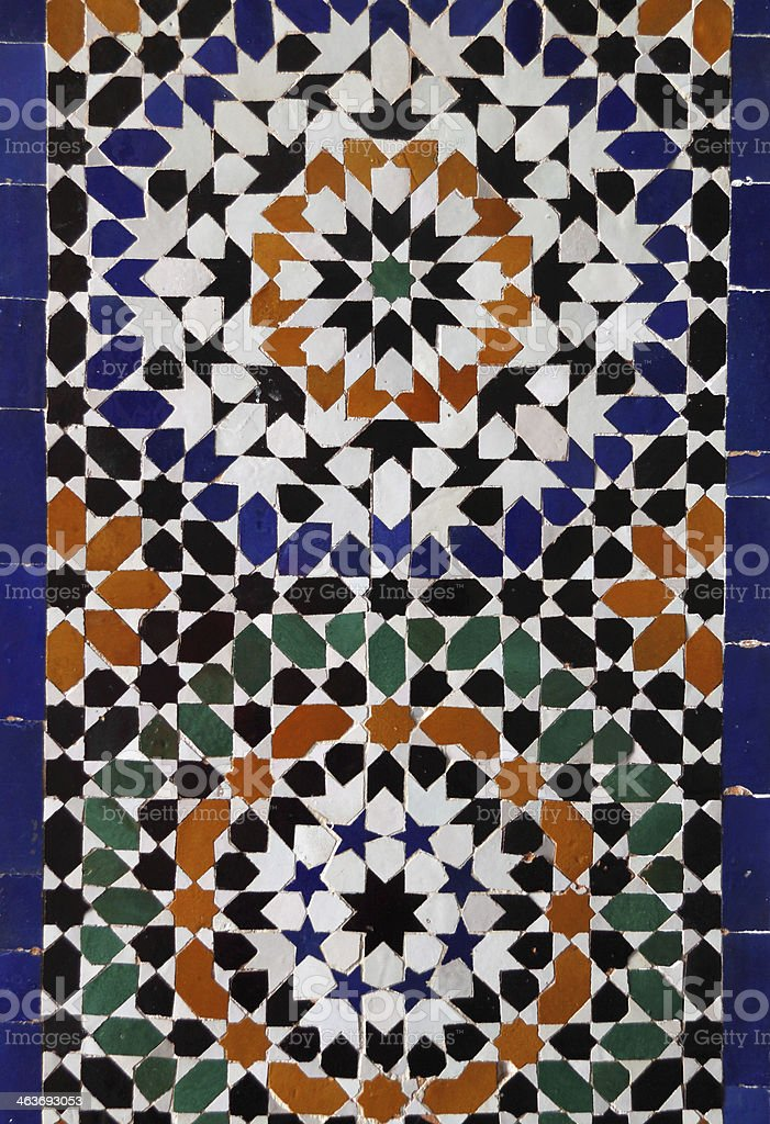 Typical historical glazed mosaic ceramic wall tiles with Islamic...