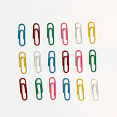 Colourful Paperclip Flat Lay