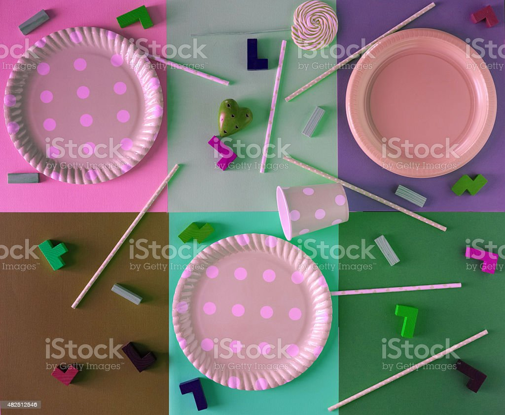 Colourful Party Decorations Materials stock photo