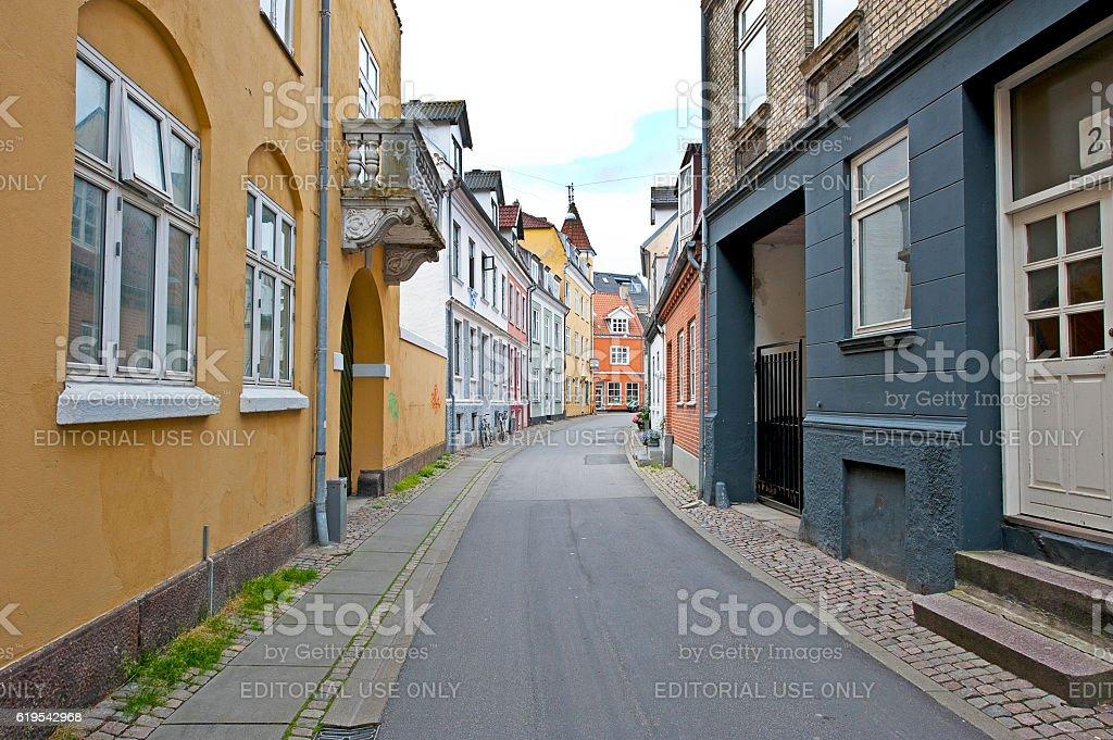 Colourful passageway, Aalborg, Denmark stock photo