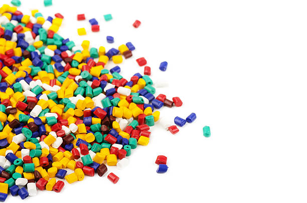 Colourful plastic granules stock photo
