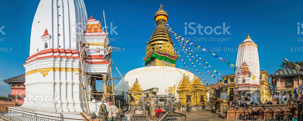 Colourful prayer flags Buddhist shrines Swayambhunath monkey temple Kathmandu Nepal stock photo