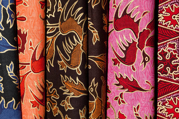 Colourful Printed Batik Textiles at Indonesian Textile Market stock photo