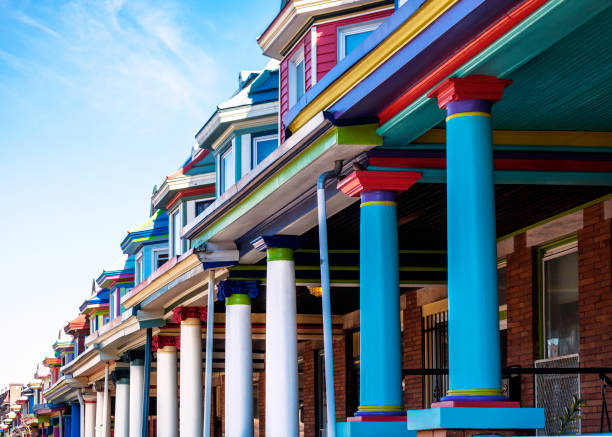 Colourful row houses - Charles Village, Baltimore Colourful row houses. Charles Village, Baltimore, Maryland, USA baltimore maryland stock pictures, royalty-free photos & images