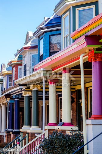 Colourful row houses in Charles Village.