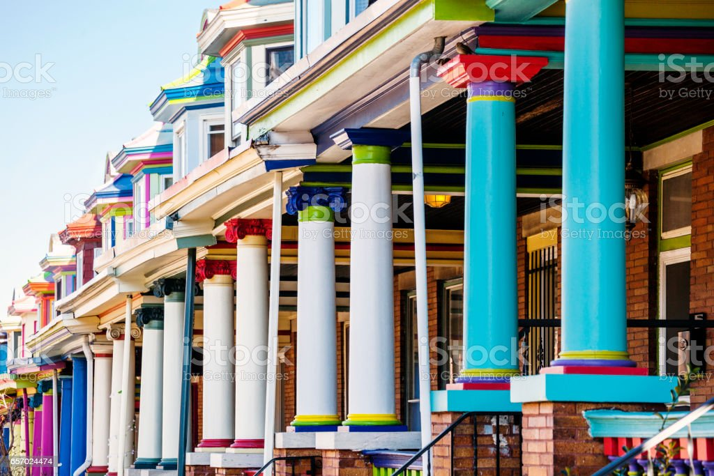 Colourful row houses - Charles Village, Baltimore. stock photo