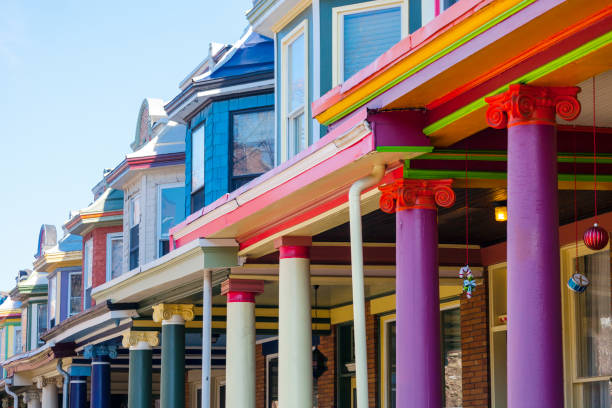 Colourful row houses - Charles Village, Baltimore stock photo