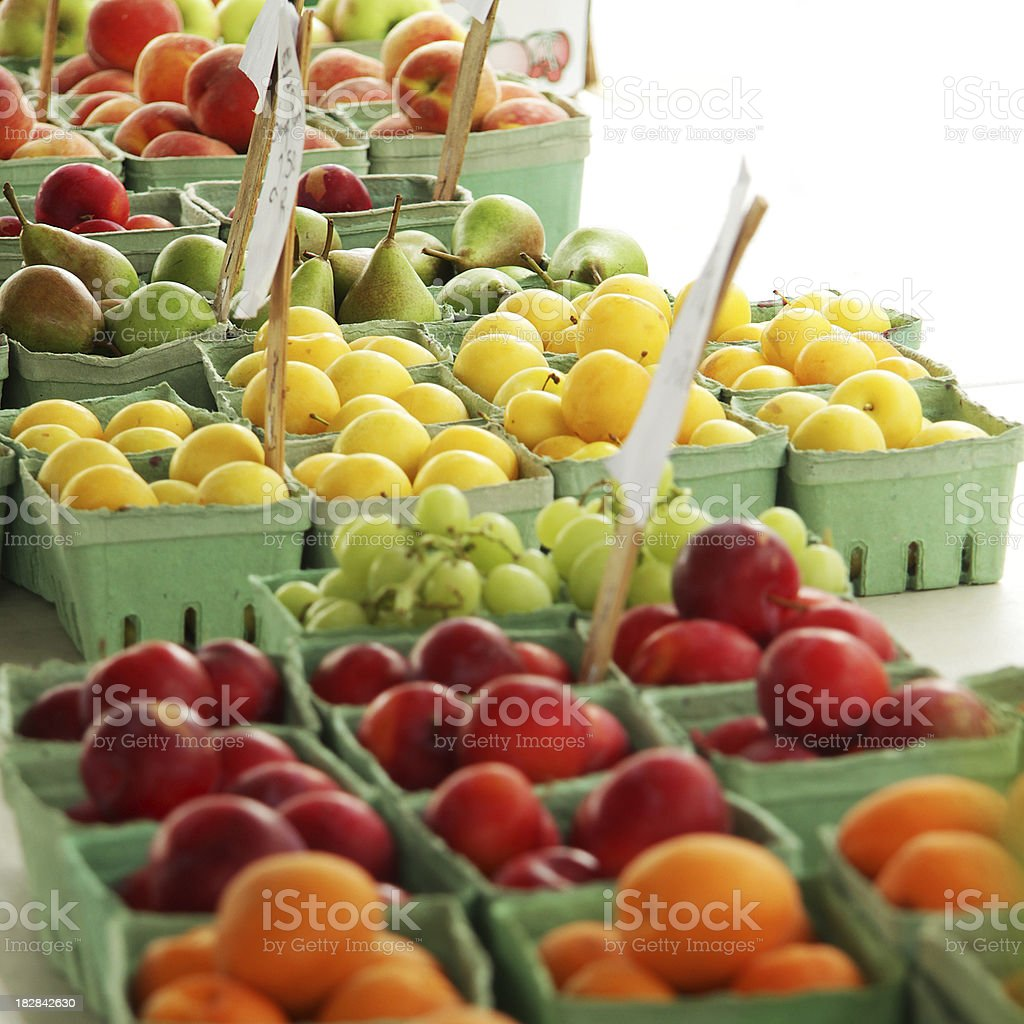 Colourful Rows of fruit at the Market stock photo