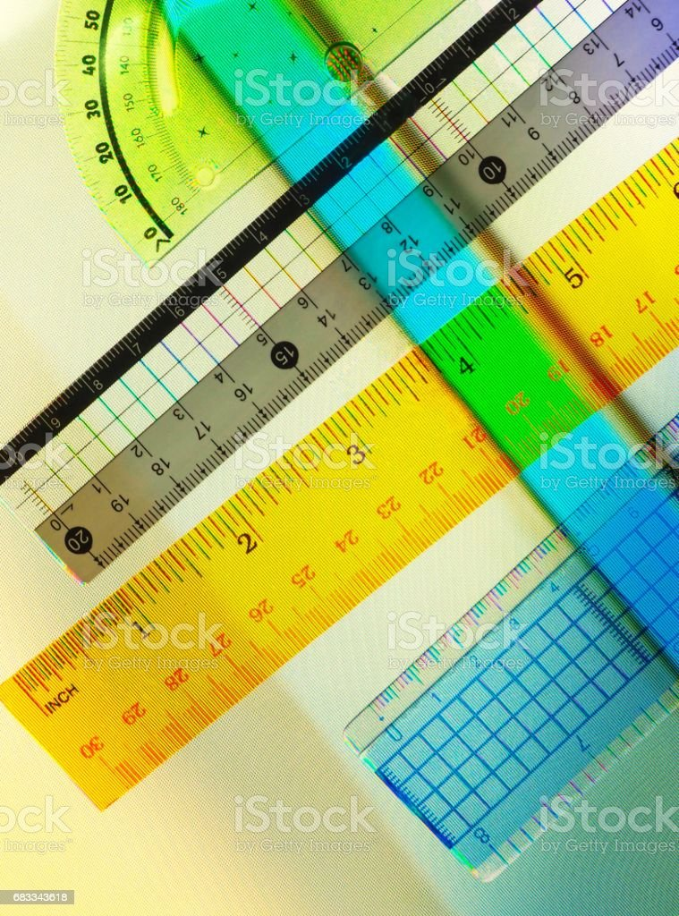 Colourful Rulers On Abstract Television Screen Background stock photo