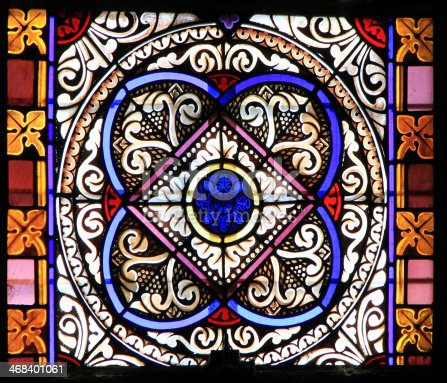 istock Colourful seamless stained glass in Chusclan, France 468401061