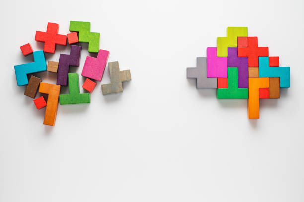 Colourful shapes of abstract brain stock photo