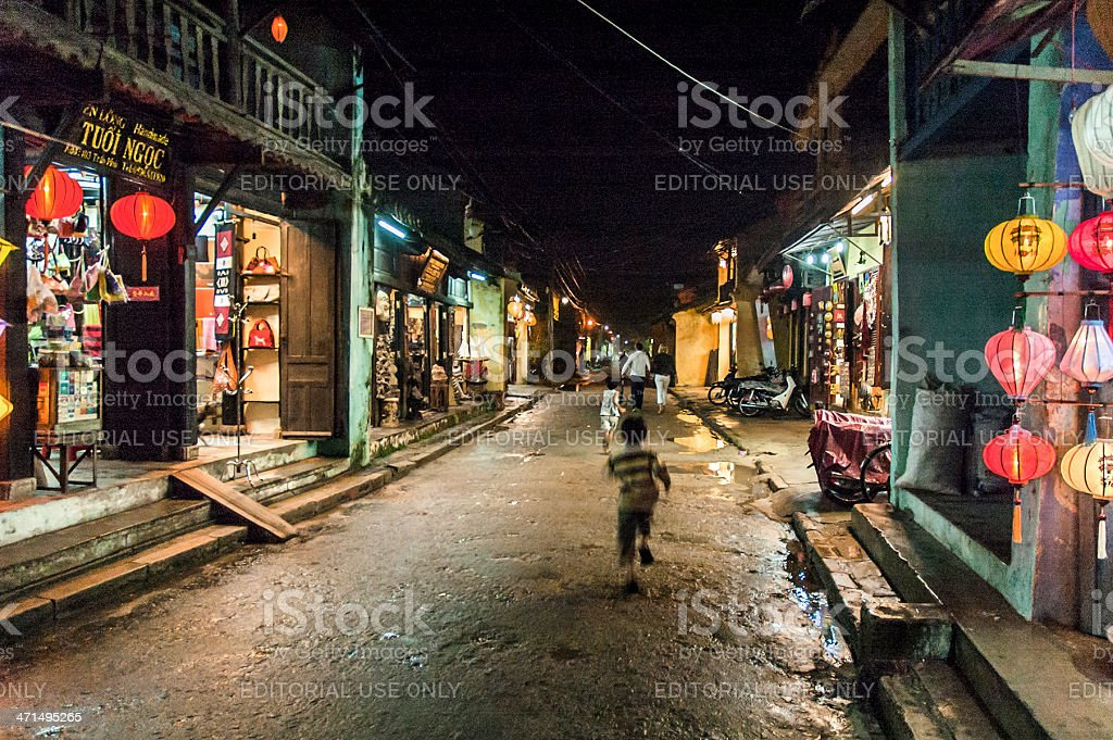 Colourful Shops At Night In Hoi An, Vietnam royalty-free stock photo