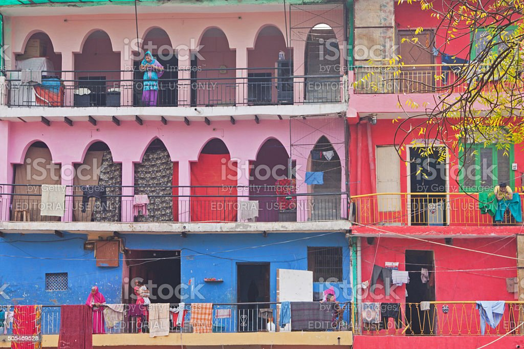Colourful Social Housing Units In Old Delhi India Stock Photo More