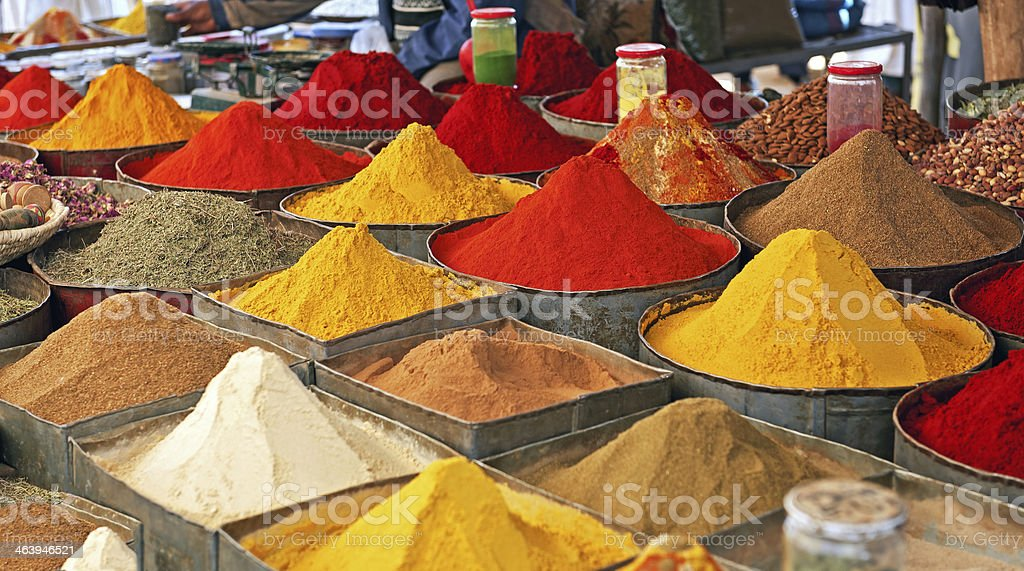 Colourful Spice Market in Morocco, Africa stock photo