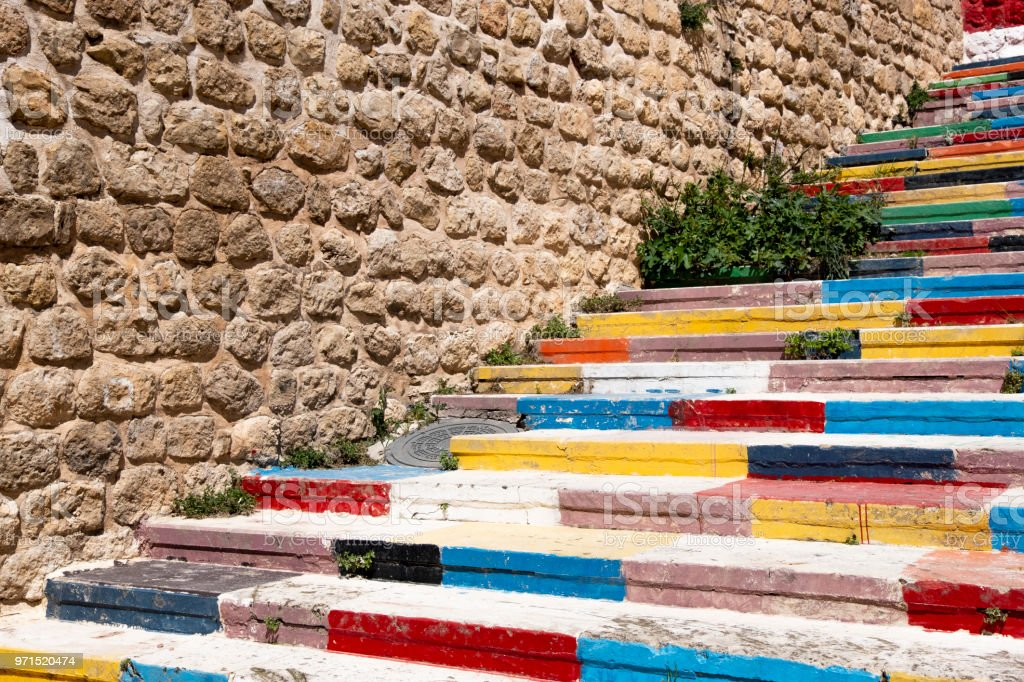 Colourful stairs in Mardin, Turkey stock photo