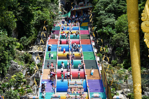 Colourful steps at Batu Caves temple in Malaysia, Beautiful coloured steps at hindu religion Batu Caves temple Colourful steps at Batu Caves temple in Malaysia, Beautiful coloured steps at hindu religion Batu Caves temple batu caves stock pictures, royalty-free photos & images