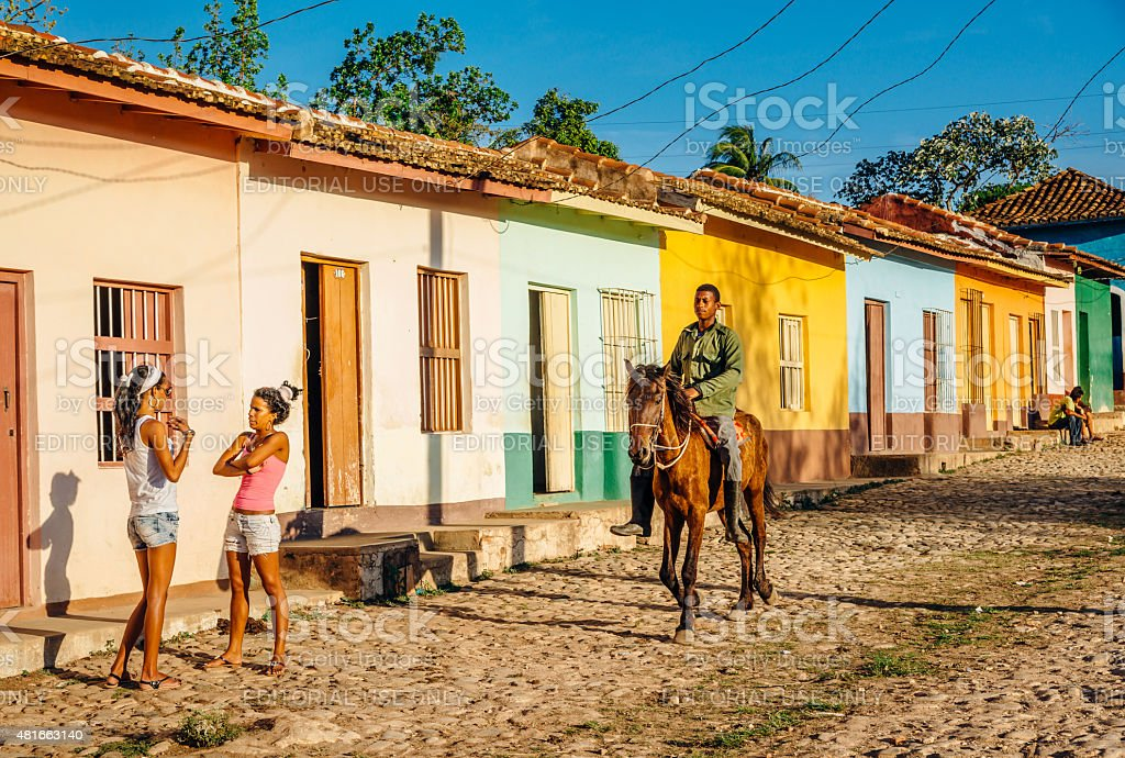 Colourful street in Trinidad, Cuba stock photo