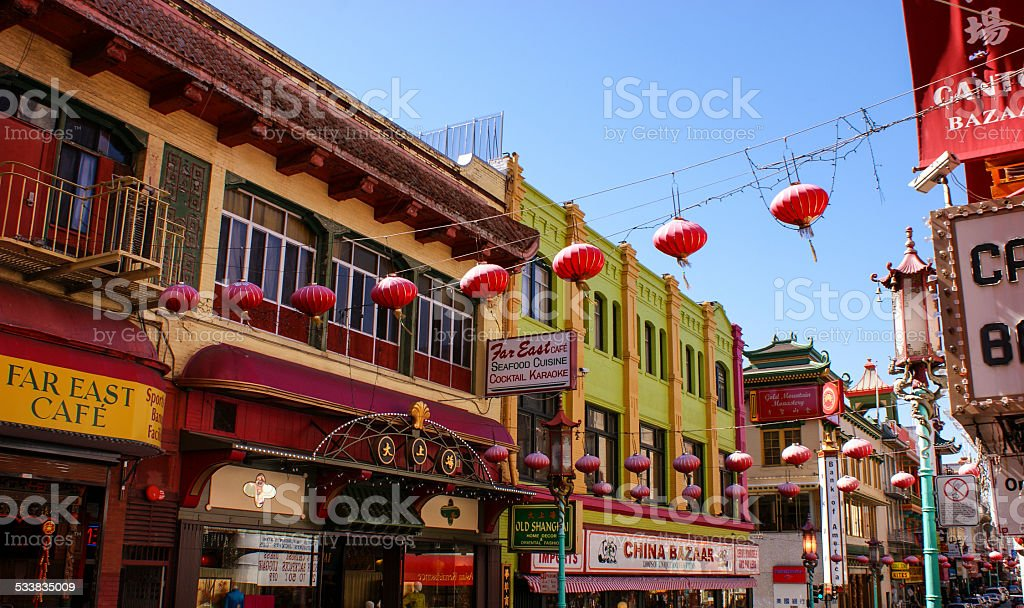 Colourful street view of China Town, San Francisco stock photo