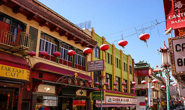 colourful street view of china town, san francisco - chinatown stockfoto's en -beelden