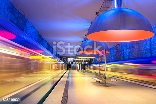 istock Colourful subway station in Munich Germany 693216832
