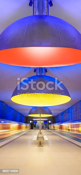 istock Colourful subway station in Munich Germany 693216930