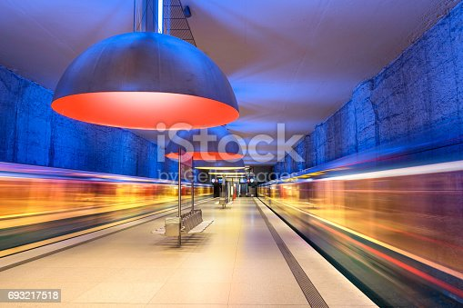 istock Colourful subway station in Munich Germany 693217518