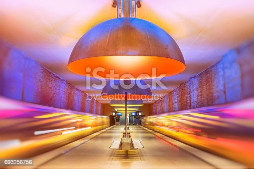 istock Colourful subway station in Munich Germany 693256756