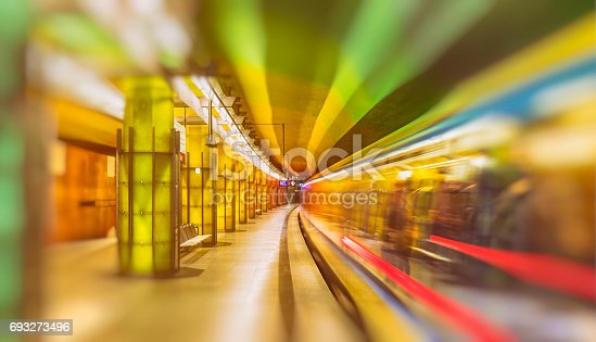 istock Colourful subway station in Munich Germany 693273496