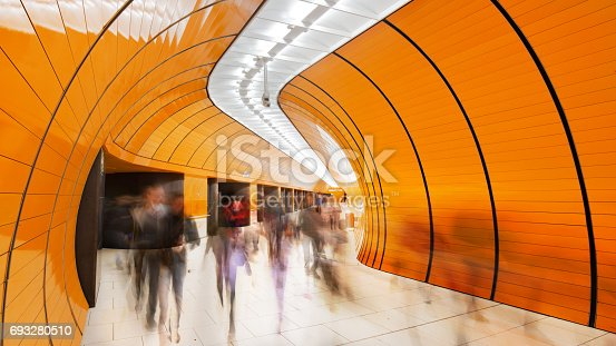 istock Colourful subway station in Munich Germany 693280510
