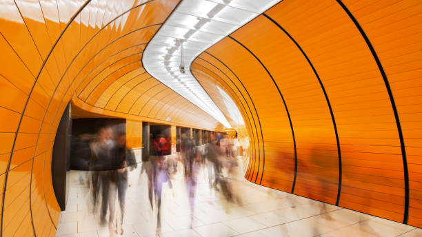 Colourful subway station in Munich Germany stock photo