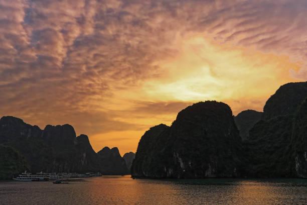 Colourful sunset in Ha long bay