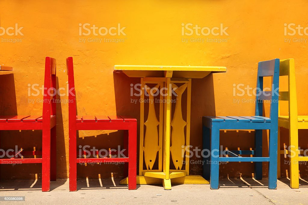 Colourful table & chairs, Cartagena, Colombia. stock photo