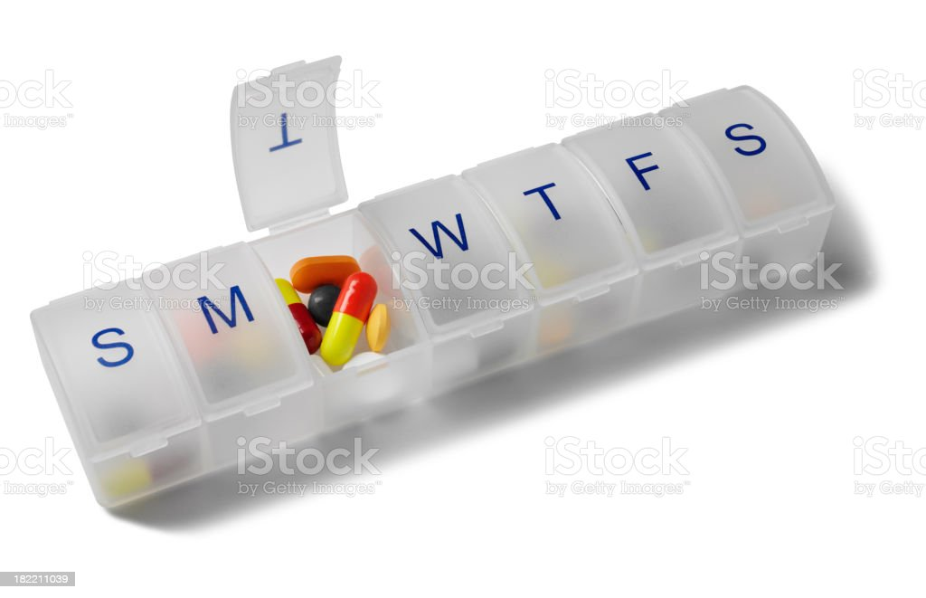 Colourful Tablets and Pill Box stock photo