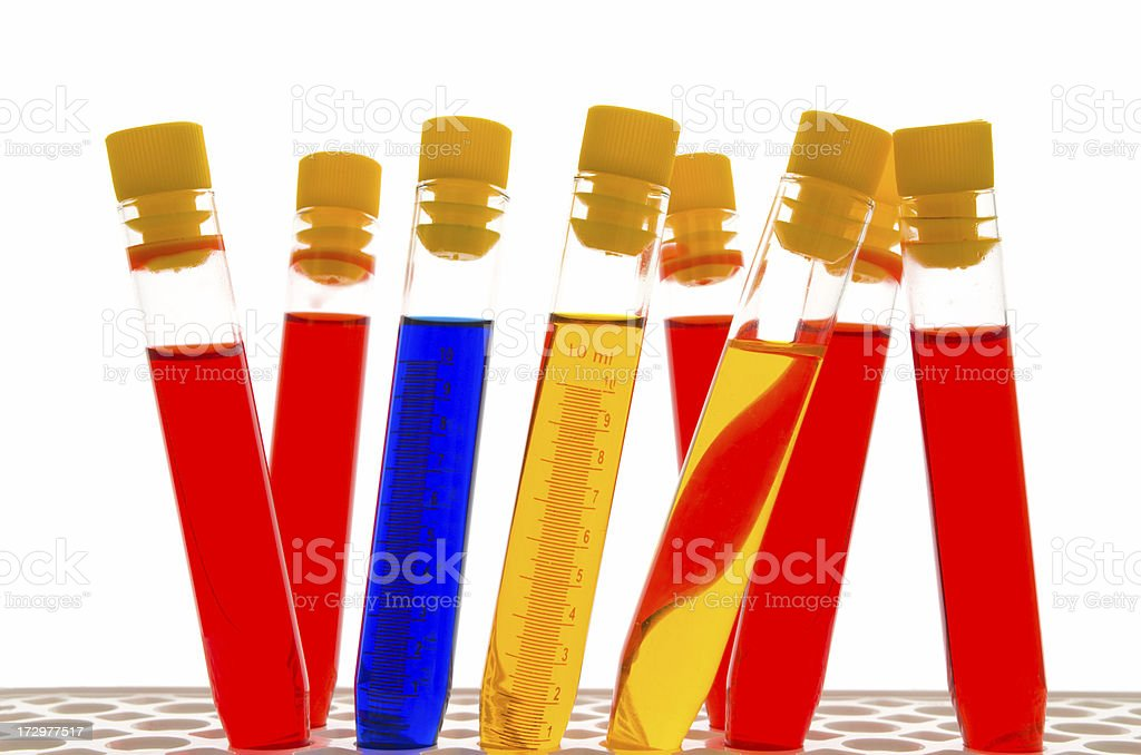 Colourful test tubes royalty-free stock photo