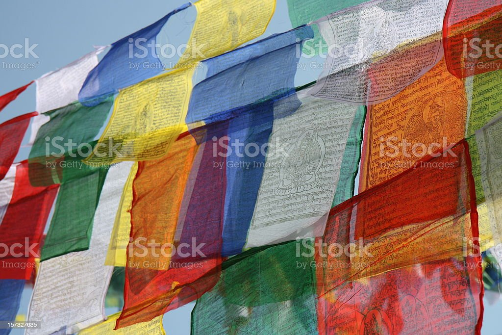 colourful tibetan prayer flags stock photo