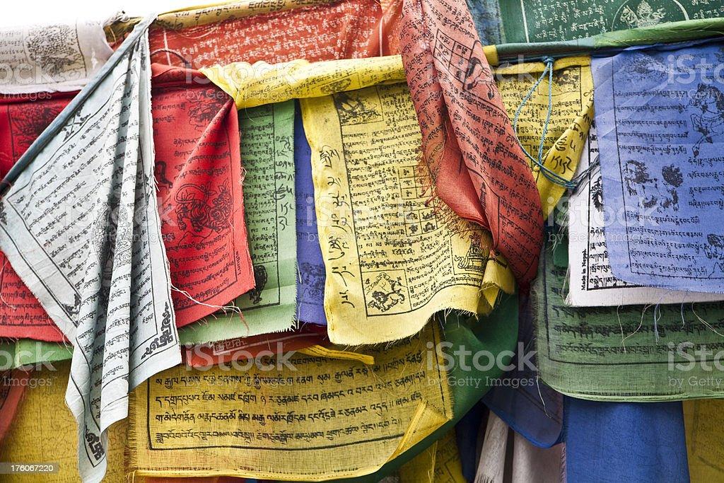 colourful tibetan prayer flags stock photo