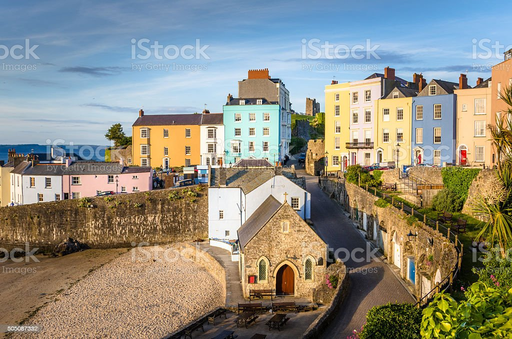 Colourful Town Houses at Sunset stock photo
