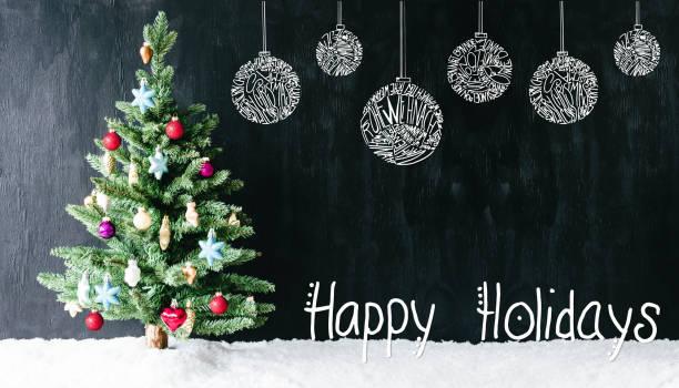 Colourful Tree, Ball, Calligraphy Happy Holidays, Snow stock photo